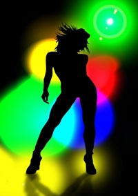 A dancing women with a colourful background  (photo: Gerd Altmann/Jana Werner / pixelio.de)