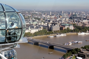 View on a capsule of the London Eye with Adrian Moser in it