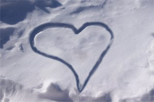 A heart shape in the snow.