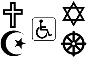Collage of religious symbols (Wikipedia/MPL)