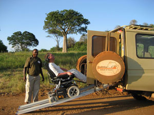 ramp for wheelchair into the jeep (Picture: GoAfrica Safaris)