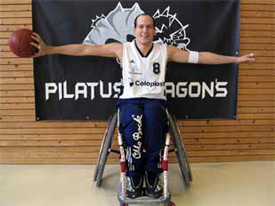 Nicolas Hausammann posing in his basketball wheelchair (photo: Pilatus Dragons)