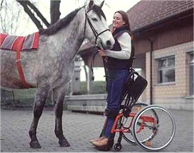 Woman in standing wheelchair, holding her horse in stable yard (Picture: LEVO)